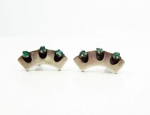 Salvador Teran Emerald Vintage Mexica Silver Earrings