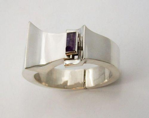Antonio Pineda Modernist Amethyst Mexican Silver Bracelet Heavy