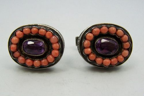 Matl Matilde Poulat Jeweled Mexican Silver Cuff Links