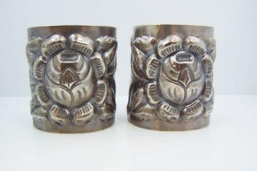 Huge Tobias Pair Vintage Mexican Silver Repousse Cuffs