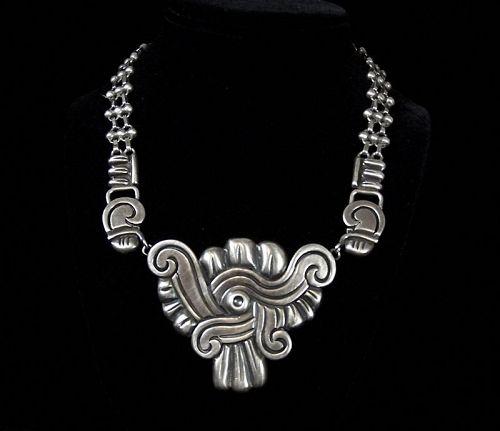 Hector Aguilar Vintage Mexican Silver Glyph Necklace
