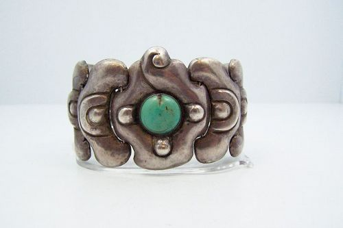 Matl Matilde Poulat Turquoise Moth Mexican Silver Old Bracelet