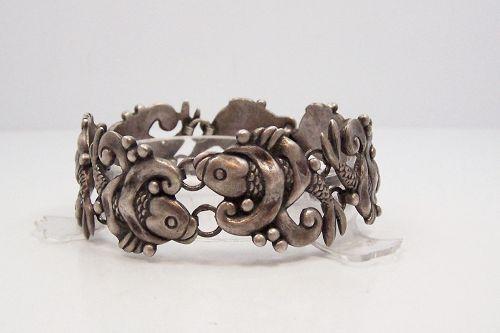 Los Castillo Vintage Mexican Silver Fish Bracelet
