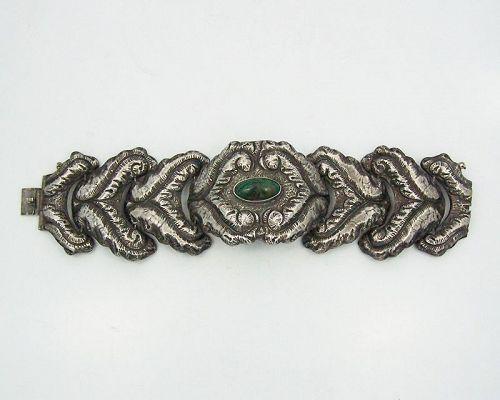 P. Ochoa Vintage Mexican Silver Bracelet Green Stone