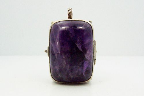 William Spratling Amethyst Vintage Mexican Silver Locket Pendant