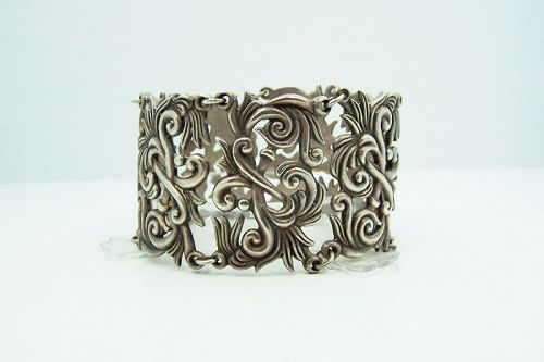 Los Castillo 441 Floral Mexican Silver Vintage Bracelet
