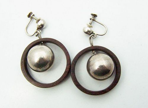 Spratling Vintage Mexican Silver & Wood Earrings