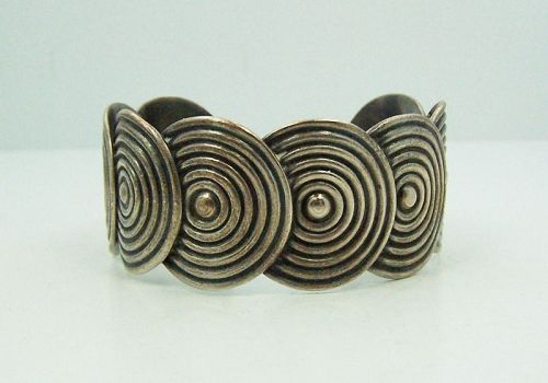 Los Castillo 653 Vintage Mexican Silver Cuff Bracelet