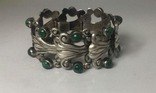 Green Stone Pre 1950 Vintage Mexican Silver Bracelet