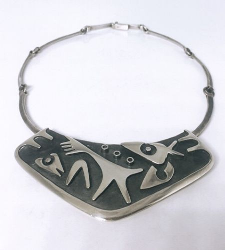 Los Castillo Design 108 Vintage Mexican Silver Necklace