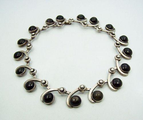 Los Castillo # 201 Obsidian Vintage Mexican Silver Necklace