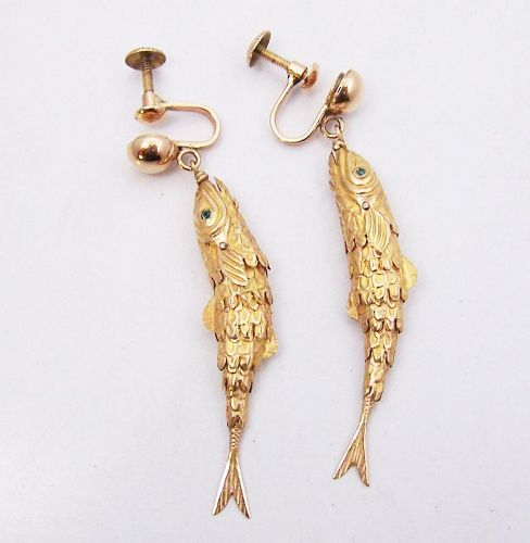 14 kt Gold Carmen Beckmann Vintage Mexican Silver Earrings