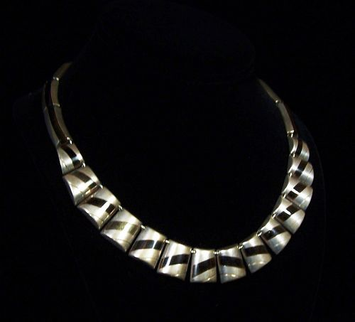 Ledesma Vintage Mexican Silver Bars Necklace And Obsidian Stone