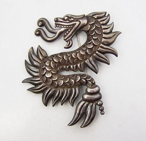 Los Castillo Dragon Brooch Vintage Mexican Silver Design # 365