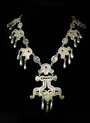 Old Vintage Mexican Silver Casa Bells Necklace