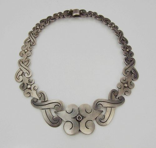 Vintage Mexican Silver Fertility Necklace by Hector Aguilar