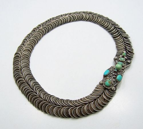 Matl Matilde Poulat Jeweled Vintage Mexican Silver Snake Necklace