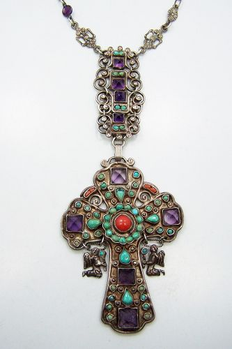 Matl Matilde Poulat Jeweled Vintage Mexican Silver Cross Necklace