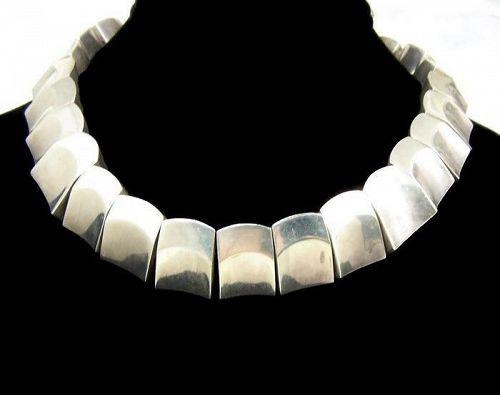 Antonio Pineda Vintage Mexican Silver Thumbprint Necklace Rare
