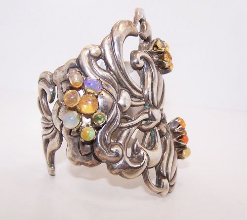 Doris Silver Vintage Mexican Silver Cuff with Mexican Fire Opals Rare