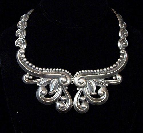 Los Castillo Vintage Mexcian Silver Swirl  Pectoral  Design # 396
