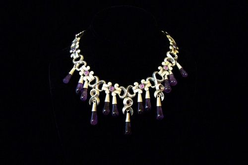 Antonio Pineda Vintage Dangles Amethyst Mexican Silver Necklace
