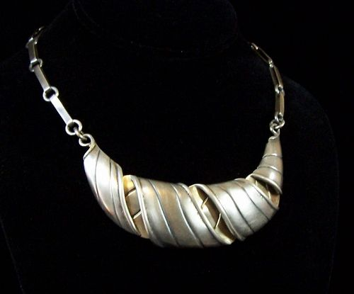 William Spratling Vintage Mexican Silver Croissant Necklace