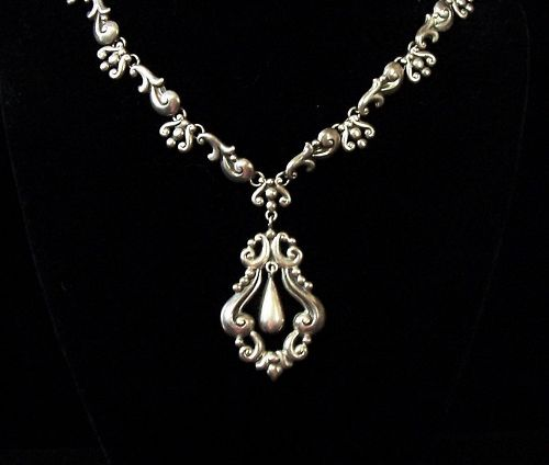Gerardo Lopez Vintage Mexican Silver Necklace With Drop