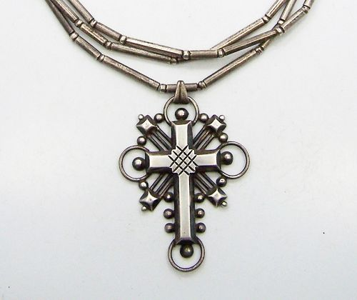 William Spratling Vintage Mexican Silver Necklace With Spratling Chain
