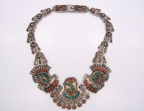 Matl Matilde Poulat Vintage Mexican Silver Coral Turquoise Necklace