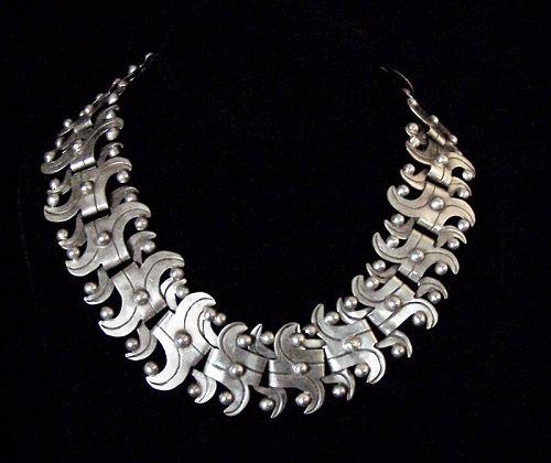 Taxco 980 Vintage Mexican Silver Big Necklace