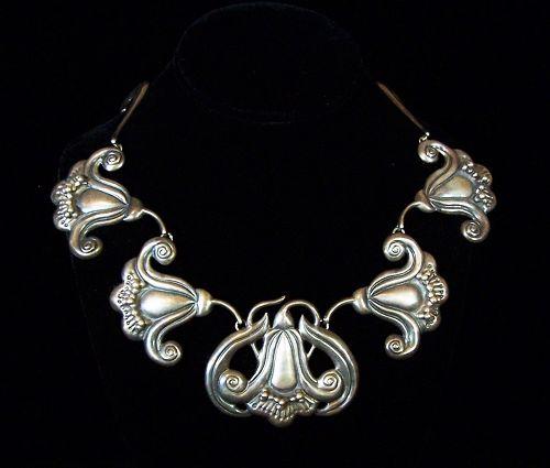 Far Fan Huge Floral Repousse Vintage Mexican Silver Necklace