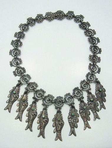 Mexican Silver Matl Salas Matilde Poulat Vintage Fish  Necklace