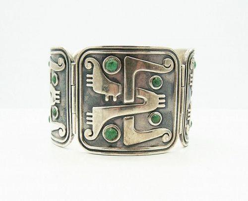 Pedro Castillo Big Vintage Mexican Silver Bracelet With Stones