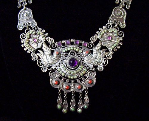 Maker CEL Old Mexico City Folk Work Vintage Mexican Silver