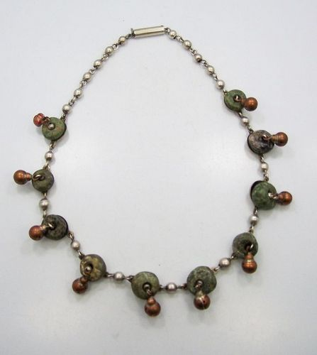 Pre Columbian Beads Vintage Mexican Silver Necklace