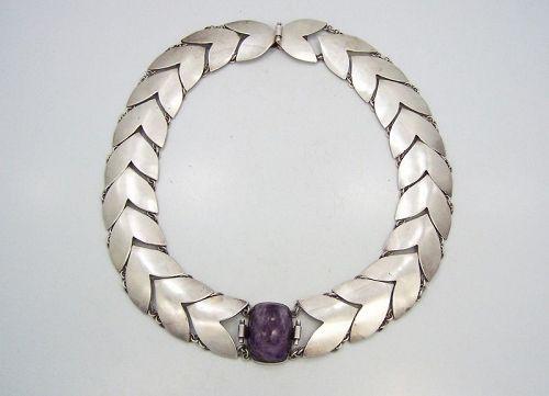 Fred Davis Chevron Vintage Mexican Silver Amethyst Necklace