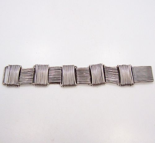 Hector Aguilar Paper Clip Mexican Silver Bracelet