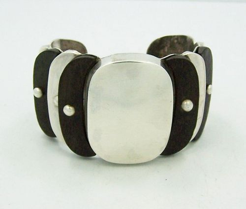 William Spratling Silver & Wood Cuff