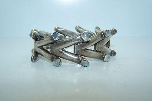 Antonio Pineda Vintage Mexican Silver Moonstone Bracelet