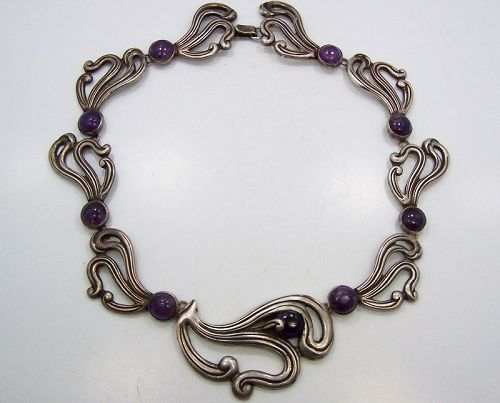 Taxco 980 Mexican Silver Vintage Free Form Floral Amethyst Necklace