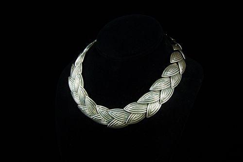 Los Castillo # 124 Big Leaf  Vintage Mexican Silver Necklace