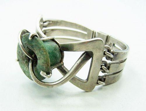 Los Castillo Pre Columbian Stone Vintage Mexican Silver Bracelet