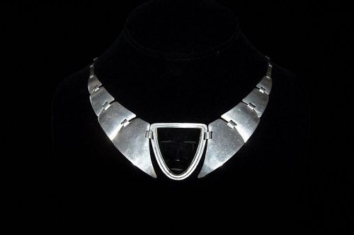 Fred Davis Obsidian Mask Vintage Mexican Silver Necklace