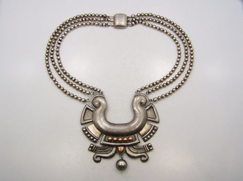 William Spratling Chupamirto Azteca Vintage Mexican Silver Necklace