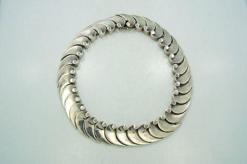 Antonio Pineda Vintage Mexican Silver Wave Necklace
