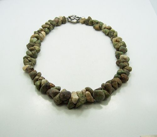 Green Hardstone Vintage Mexican Silver Necklace
