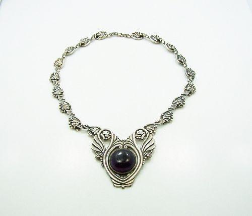 Margot de Taxco  #5105 Vintage Mexican Silver Necklace Amethyst Drop