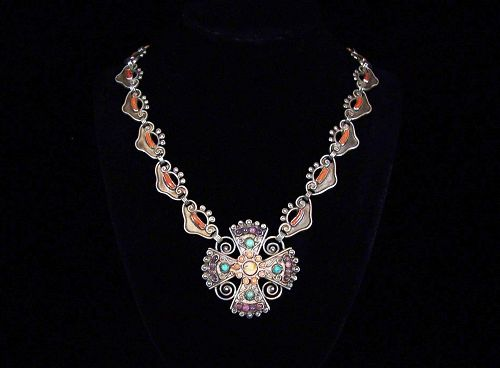 Matl Matilde Poulat Vintage  Mexican Silver Reliquary Necklace