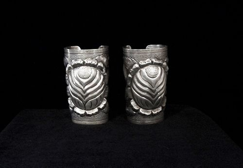 Huge Repousse  Vintage Mexican Silver Pair of Cuffs Gorgeous